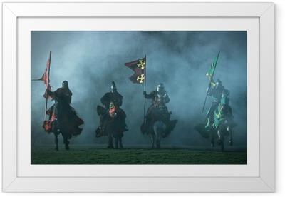 d458945f Innrammet plakat Middelalderlige riddere på hesteryggen
