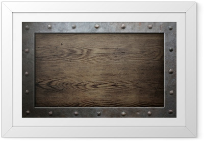 Poster en cadre Armature en métal sur fond vieux bois