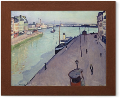 Albert Marquet - View of Le Havre harbour (Notre Dame wharf) Framed Poster