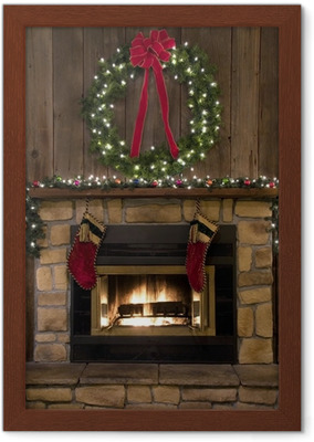 Christmas Hearth.Christmas Fireplace Hearth With Wreath And Stockings