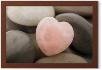 Innrammet plakat Rose kvarts hjerte.