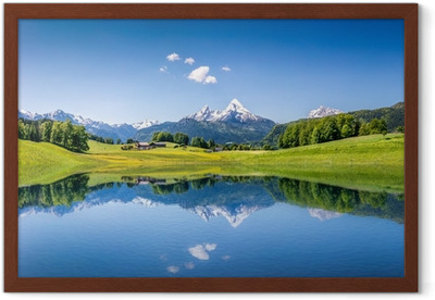 Idyllic summer landscape with mountain lake and Alps Framed Poster