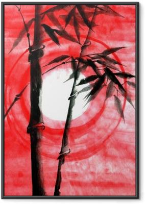 Watercolor ink Japanise bamboo on sunset Framed Poster