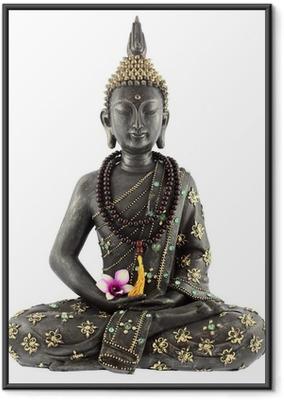 Ingelijste Poster Boeddha met gebed kralen en orchidee bloem