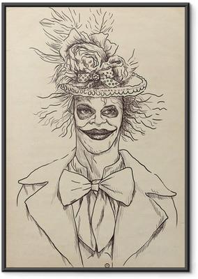 Çerçeveli Poster Bir Undead (zombi, korkutucu palyaço ...) Portresi, el çizimi