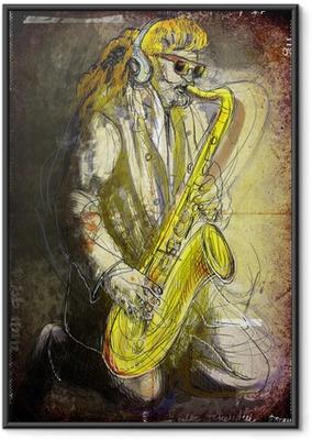 Ingelijste Poster Saxofonist - een hand getekende illustratie noir