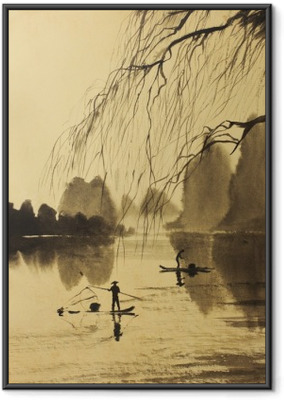 Asian mountains and lake Framed Poster