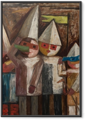 Poster in Cornice Tadeusz Makowski - Carnevale di bambini con banderuola