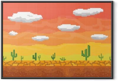 Pixel art desert seamless background. Framed Poster