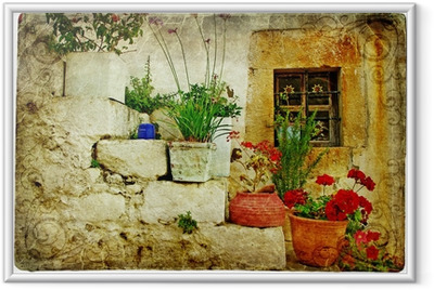 Gerahmtes Poster Alte Dörfer von Griechenland - künstlerischen Retro-Stil