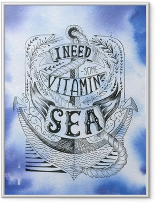 Hand drawn vintage label with an anchor and lettering. Framed Poster