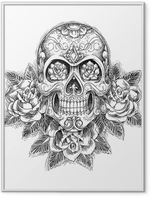 Poster en cadre Crâne Sketchy avec des roses - Art et création
