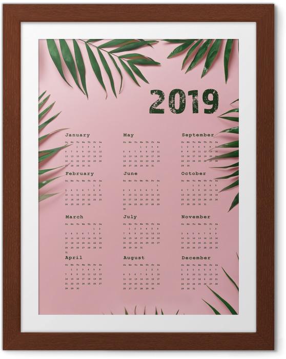 Plakat w ramie Kalendarz 2019 - róż i liście - Kalendarze 2018