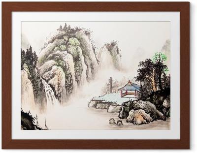 Kiinalainen maisema vesiväri maalaus Kehystetty juliste