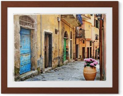 Ingelijste Poster Oude straten van de Italiaanse dorpen
