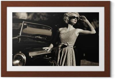 Woman near a retro car outdoors Framed Poster