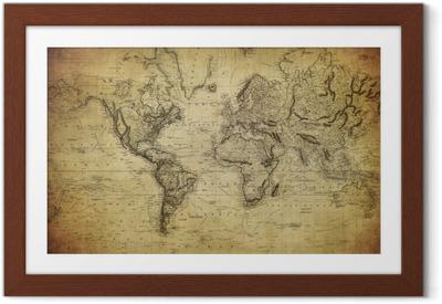 Plakát v rámu Vintage mapa světa 1814 ..