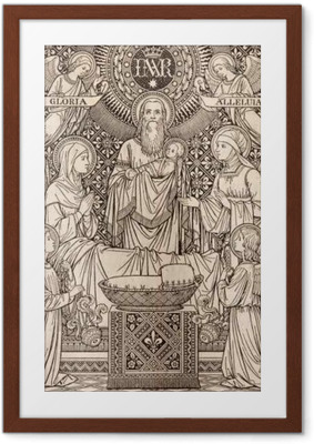 BRATISLAVA, SLOVAKIA, NOVEMBER - 21, 2016: The lithography of Presentation in the Temple by unknown artist with the initials F.M.S (1893) and printed by Typis Friderici Pustet. Framed Poster