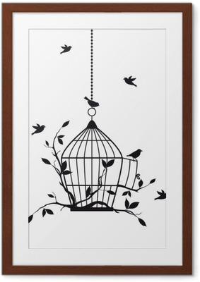 Ingelijste Poster Vrije vogels met open vogelkooi, vector