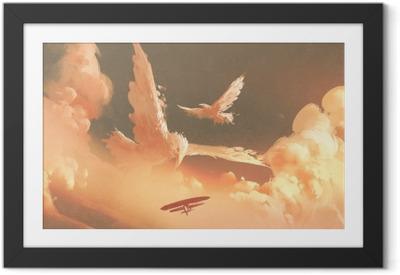 Póster Enmarcado Aves en forma de nube en el cielo del atardecer, ilustración pintura