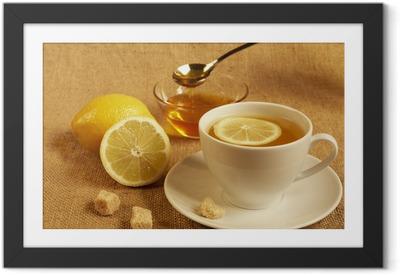 Póster com Moldura tea with lemon and honey
