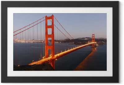 Poster i Ram Visa till Golden Gate-bron i San Francisco / USA