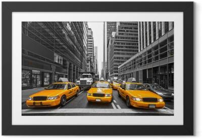 Poster in Cornice TYellow taxi a New York City, Stati Uniti d'America.