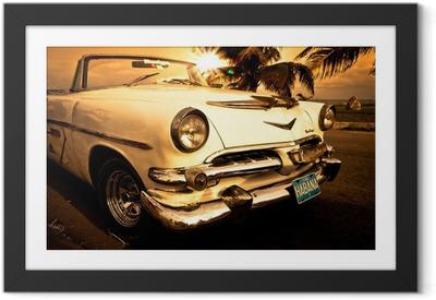 Ingelijste Poster Oude Amerikaanse auto, Cuba