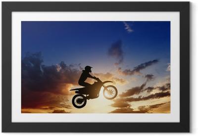 Poster en cadre Motorcircle silhouette du cycliste