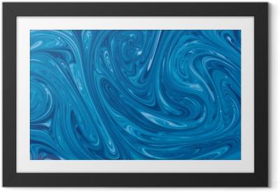 Poster en cadre Turquoise aquarelle fond de marbre