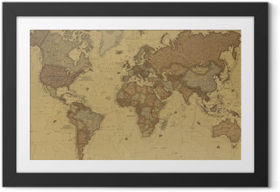 Ingelijste Poster Ancient World map