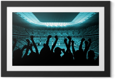 Silhouettes of football supporters Framed Poster