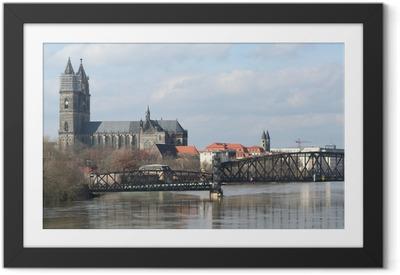Gerahmtes Poster Elbe und dom in magdeburg