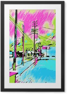 Plakát v rámu Kreslení a malování modré město s růžové a zelené nebe