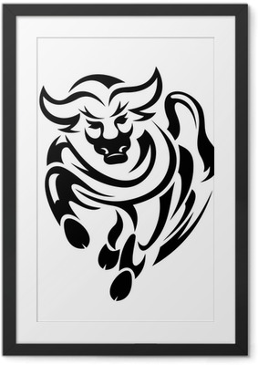 Gerahmtes Poster Tribal Stier