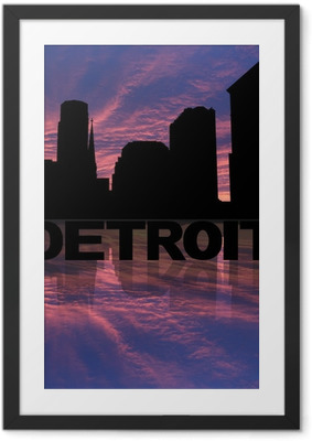 Detroit skyline reflected with text and sunset illustration Framed Poster