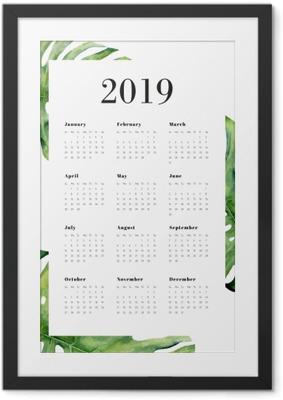 Gerahmtes Poster Kalender 2019 - Monstera