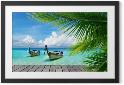 Deck with a view of a tropical sea Framed Poster