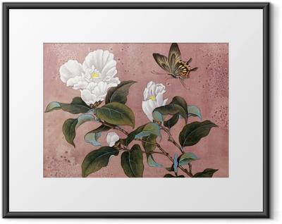 azalea flower and butterfly Framed Poster
