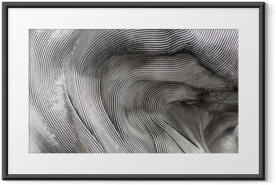 Background texture of the shining metal surface. The curved plate is made of iron. Framed Poster