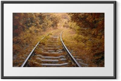 Póster com Moldura Ferrovia no outono