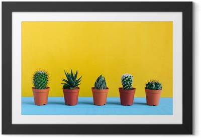 Immagine in Cornice Cactus sulla scrivania con wal giallo
