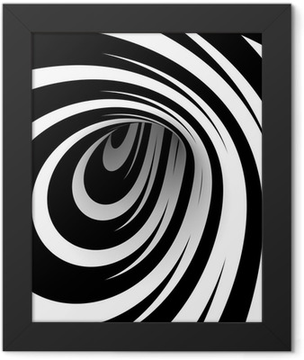 Abstract black and white spiral Framed Poster