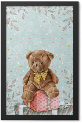 Cute Watercolor Teddy Bear with gift boxes Framed Poster