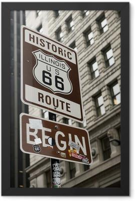 Start of Route 66, Chicago Framed Poster
