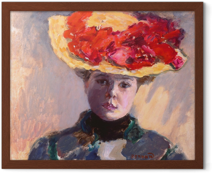 Pierre Bonnard - Girl in Straw Hat Framed Poster - Reproductions