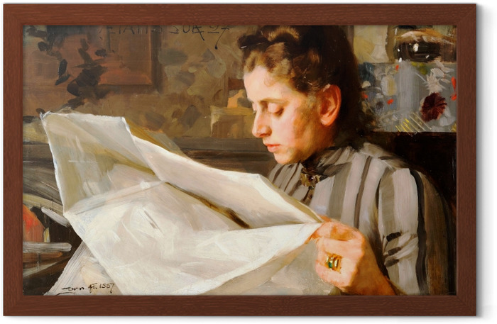 Anders Zorn - A Reading Girl Framed Poster - Reproductions
