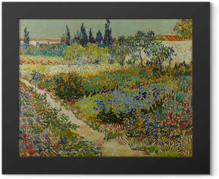 Gerahmtes Poster Vincent van Gogh - Blühender Garten mit Weg - Reproductions