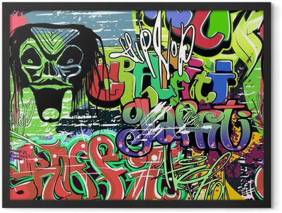 graffiti wall vector seamless background Framed Poster