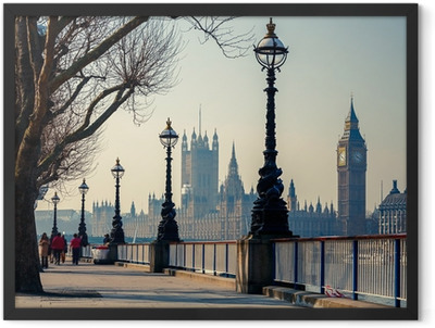 Promenade in London with a view of Big Ben and the Houses of Parliament Framed Poster